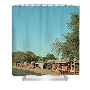 Orange Stalls Shower Curtain