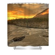 Orange Sunset On Sluice Box Rapids Shower Curtain