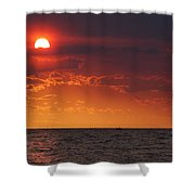 Orange Sunset Over Oyster Bay Shower Curtain