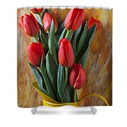 Orange Tulips In Yellow Pitcher Shower Curtain by Garry Gay