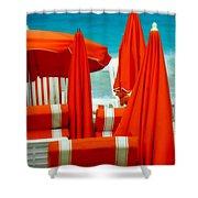 Orange Umbrellas Shower Curtain