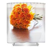 Orange Wedding Bouquet Roses Shower Curtain