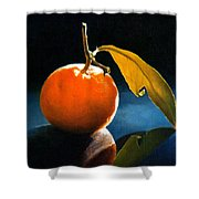 Orange With Leaf Shower Curtain