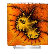 Orange Yellow And Black Abstract Fractal Art Shower Curtain