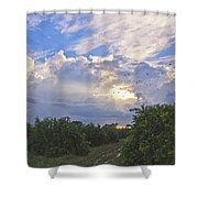 Orchard And Birds Shower Curtain