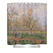 Orchard At Pontoise Shower Curtain by Camille Pissarro