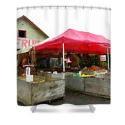Orchard Fruit Stand Shower Curtain