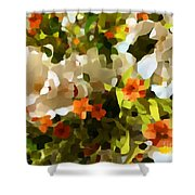 Orchids And Hydrangea Shower Curtain