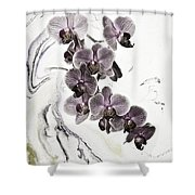 Orchids And Suminagashi Shower Curtain