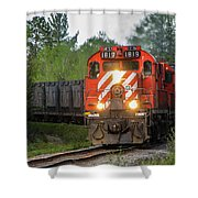 Red Ore Train On A Curve Near Bathurst Shower Curtain