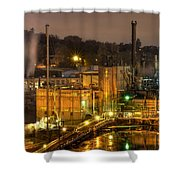 Oregon City Electricity Power Plant At Night Shower Curtain