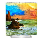 Oregon Coast At Sunset Shower Curtain