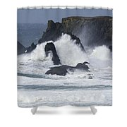 Oregon Coast Furrious Waves 1 Shower Curtain