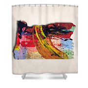 Oregon Map Art - Painted Map Of Oregon Shower Curtain