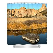 Oregon River Rock Reflections Shower Curtain