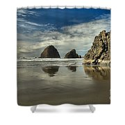 Oregon Sea Stack Reflections Shower Curtain by Adam Jewell