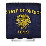 Oregon State Flag Art On Worn Canvas Shower Curtain