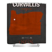 Oregon State University Beavers Corvallis College Town State Map Poster Series No 087 Shower Curtain