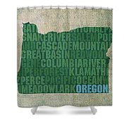 Oregon Word Art State Map On Canvas Shower Curtain