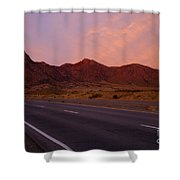 Organ Mountain Sunrise Highway Shower Curtain by Mike  Dawson
