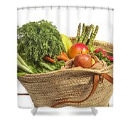 Organic Fruit And Vegetables In Shopping Bag Shower Curtain