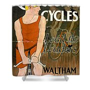 Orient Cycles Vintage Bicycle Poster Shower Curtain