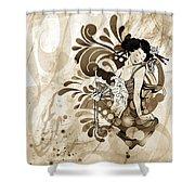 Oriental Beauty Sepia Tone Shower Curtain