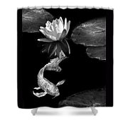 Oriental Koi Fish And Water Lily Flower Black And White Shower Curtain