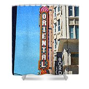 Oriental Theater With Sponge Painting Effect Shower Curtain