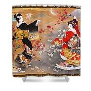 Oriental Triptych Shower Curtain