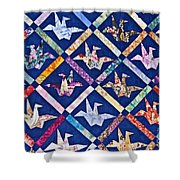 Origami Quilt Wall Art Prints Shower Curtain
