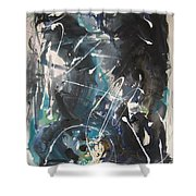 original abstract blue and black painting for sale-Blue Valley Shower Curtain