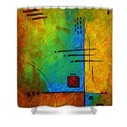 Original Abstract Painting Digital Conversion For Textured Effect Resonating IIi By Madart Shower Curtain
