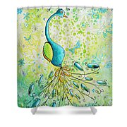Original Acrylic Bird Floral Painting Peacock Glory By Megan Duncanson Shower Curtain
