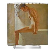 Original Classic Oil Painting Body Man Art- Male Nude In The Bathroom#16-2-3-01 Shower Curtain