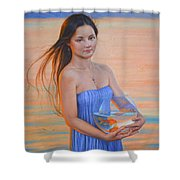 Original Classic Oil Painting Girl Art- Chinese Beautiful Girl And Goldfish Shower Curtain