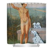 Original Classic Oil Painting Man Body Art-male Nude And Dogs #16-2-4-11 Shower Curtain