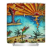 Original Coastal Surfing Whimsical Fun Painting Tropical Serenity By Madart Shower Curtain