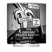 Original Frozen Banana Sign On Balboa Island Picture Shower Curtain