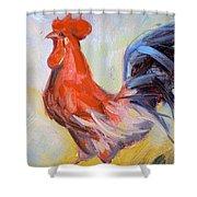 Original Animal Oil Painting - Big Cock#16-2-5-29 Shower Curtain