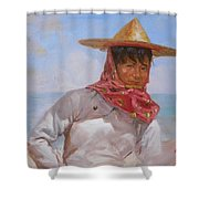 Original Oil Painting - Chinese Woman#16-2-5-26 Shower Curtain