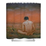 Original Oil Painting Gay Man Art-male Nude#16-2-5-43 Shower Curtain