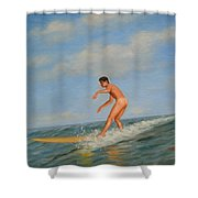 original Oil painting  male nude  man art  in the sea on canvas#16-2-5-01 Shower Curtain