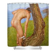 Original Oil Painting Man Body Art Male Nude-029 Shower Curtain