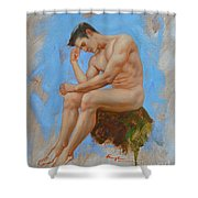 Original Oil Painting Man Body Art - Male Nude -037 Shower Curtain