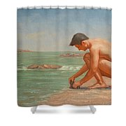 Original Oil Painting Man Body Art Male Nude By The Sea#16-2-5-42 Shower Curtain