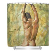 original Oil painting man body art  male nude on canvas #16-2-5-03 Shower Curtain