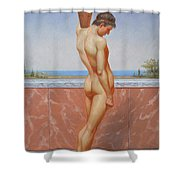 Original Oil Painting Man Body Art Male Nude On Canvas#16-2-5-13 Shower Curtain