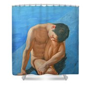 Original Oil Painting Man Body Art Male Nudeby The Pool -028 Shower Curtain