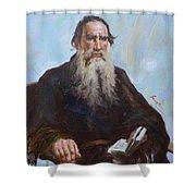 original oil painting - portrait of Leo Tolstoy #16-2-5-27 Shower Curtain